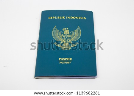 Center view of indonesian passport version 2014 in white background #1139682281