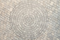 Center view of patio pavers circle design overhead view. Showing well detail  cutted edges to match to the circle design