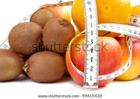 Centimeter tape wrapped around various fruits