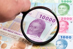 Central African CFA franc in a magnifying glass