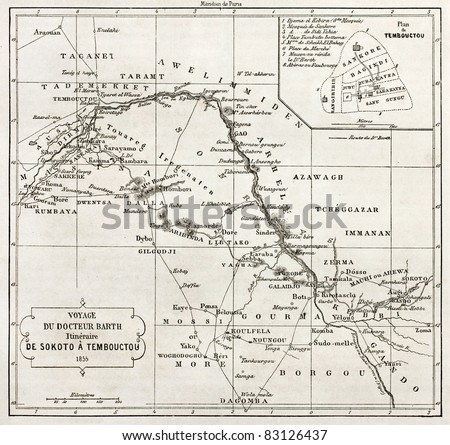 Central African itinerary from Sokoto to Timbuktu, old map with Timbuktu insert plan. Designed by Vuellemin after Petermann, engraved by Erhard. Published on Le Tour du Monde, Paris, 1860