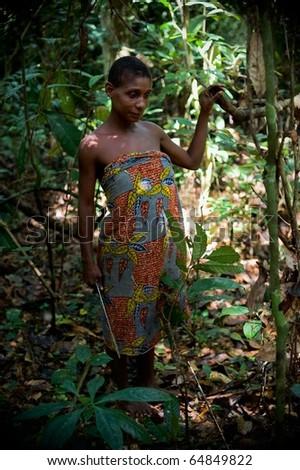 CENTRAL-AFRICAN REPUBLIC (CAR), AFRICA, NOVEMBER 2:  Jungle of the Central-African Republic. Portrait of  Baka woman in jungle. On November, 2, 2008 in Central African Republic.