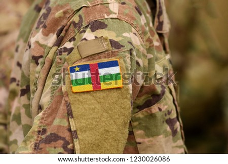 Central African Republic flag on soldiers arm. Central African Republic troops (collage) Сток-фото ©