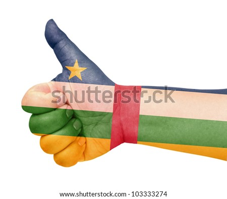 Central African Republic flag on thumb up gesture like icon on white background