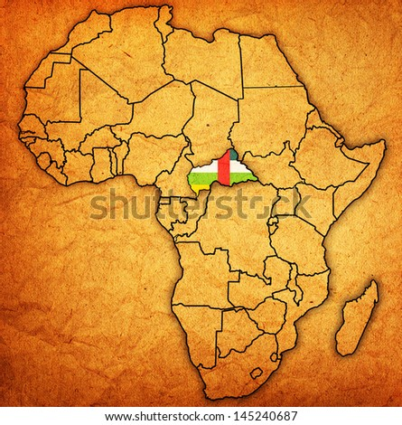 central african republic on actual vintage political map of africa with flags