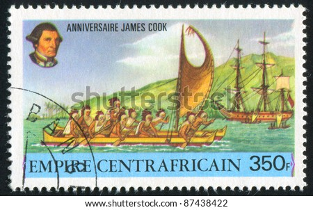 CENTRAL AFRICAN REPUBLIC 1978: stamp printed by Central African Republic, shows Masked rowers in Hawaiian boat, circa 1978