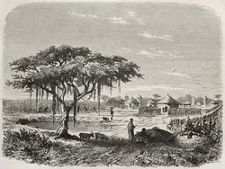 Central African village old illustration, Created by Rouargue after Barth, published on Le Tour du Monde, Paris, 1860