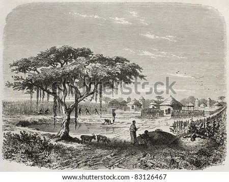 Central African village old illustration, Created by Rouargue after Barth, published on Le Tour du Monde, Paris, 1860 - stock photo