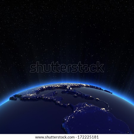 Central America and USA city lights at night. Elements of this image furnished by NASA