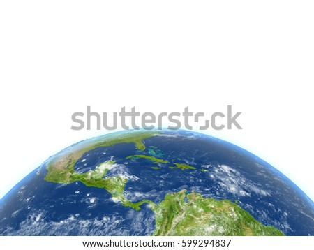 Central America. 3D illustration with detailed planet surface. Lot of space left blank for your copy. Elements of this image furnished by NASA.