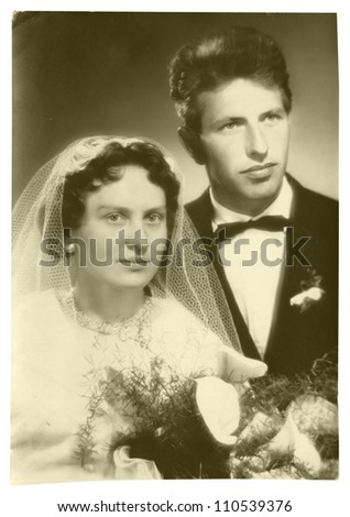 CENTRAL BOHEMIA, CZECHOSLOVAK REPUBLIC, CIRCA 1955 - wedding day, bride and groom - circa 1955 - stock photo
