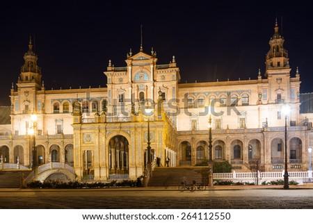 central building of Plaza de Espana in night time. Sevilla