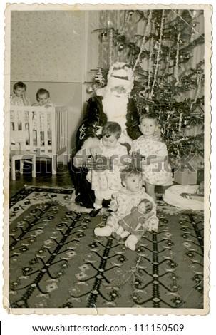 CENTRAL BULGARIA, BULGARIA,-CIRCA 1950: the area Plovdiv - Grandpa Frost in kindergarten (Christmas time) -  circa 1950