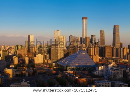 Central Business District of Beijing. It is the home of many high-end enterprises such as finance, insurance, real estate and internet. #1071312491