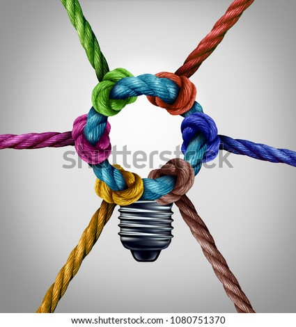 Central creativity concept as a group inspiration connection idea as diverse ropes tied together as a team symbol with 3D illustration elements. #1080751370