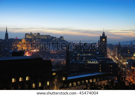 Central Edinburgh, Scotland, UK, at nightfall in winter