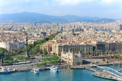 Central embankment of Barcelona with Columbus statue, La Rambla street and promenade, Spain