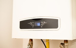 central gas heating boiler in home