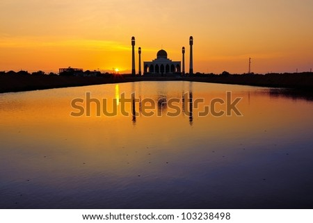 Central Mosque in sunset scene, Thailand