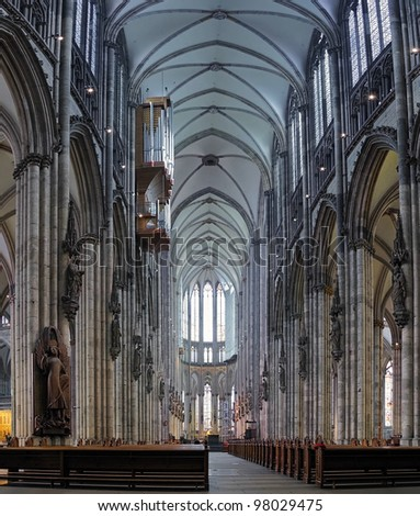 Central nave of Cologne Cathedral, Germany