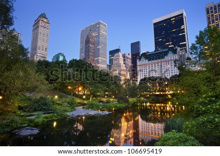 Central Park and Manhattan Skyline. Image of the midtown Manhattan skyline taken from Central Park, New York City.