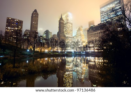 Central Park and New York City skyline at mist