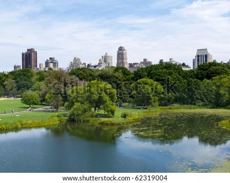 Central Park and Upper East Manhattan - stock photo