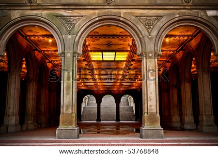 Central Park Archway - stock photo