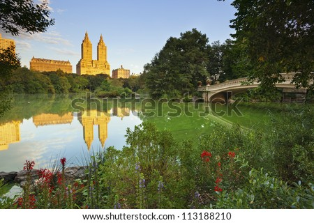 Central Park. Image of The Lake in Central Park, New York City, USA.