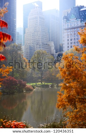 Central Park in autumn and Manhattan skyscrapers, New York City