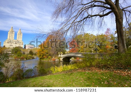 Central Park in autumn with Bow Bridge and The Lake, New York City