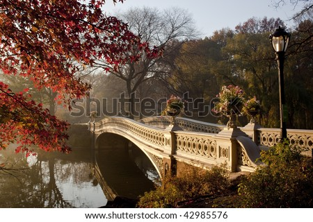 Central Park in late autumn in the early morning at the bow brdige