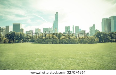 Central park in New york city without people. Central park is the most important park of the city #327074864