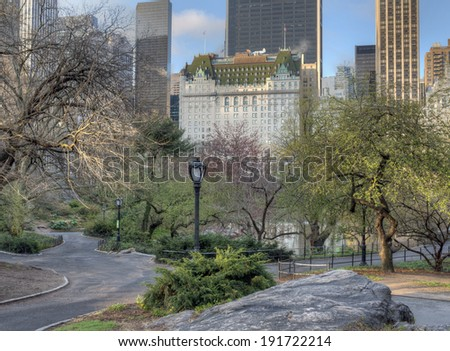 Central Park  in spring with cherry and crab apple trees in bloom