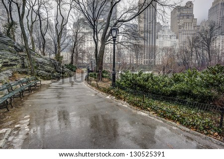 Central Park, New York City after rain storm on sidewalk