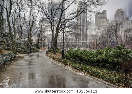 Central Park, New York City after rain storm on sidewalk