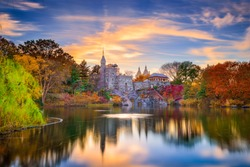 Central Park, New York City at Belvedere Castle during an autumn sunset.