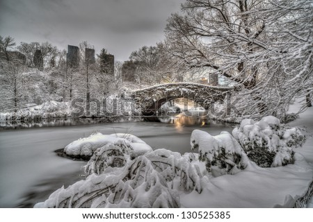 Central Park, New York City at Gapstow bridge in the early morning after snow storm