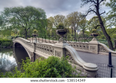 Central Park, New York City at the bow bridge in early sping