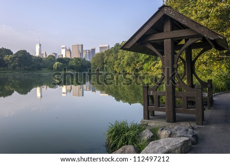 Central Park, New York City at the lake in the early morning in summer