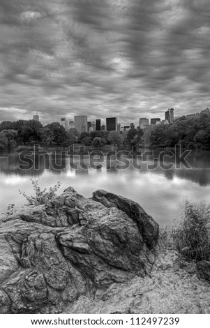 Central Park, New York City at the lake in the morning on a cloudy day