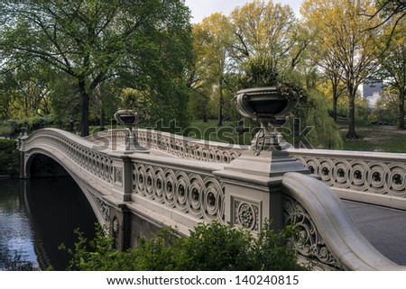 Central Park, New York City Bow bridge in spring