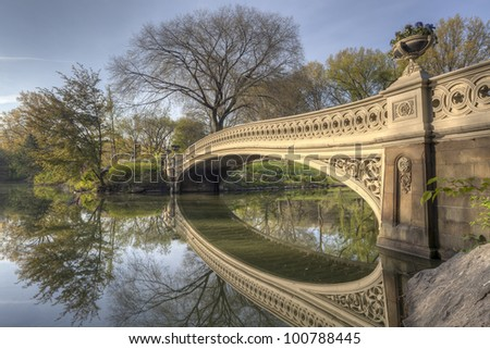 Central Park, New York City bow bridge in the early morning