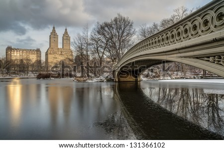 Central Park, New York City bow bridge in winter