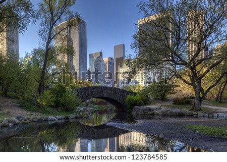 Central Park, New York City early spring at the Gapstow bridge
