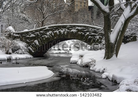Central Park, New York City Gapstow bridge after snow storm