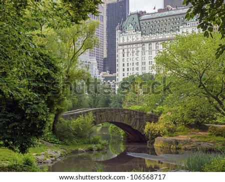 Central Park, New York City Gapstow bridge spring