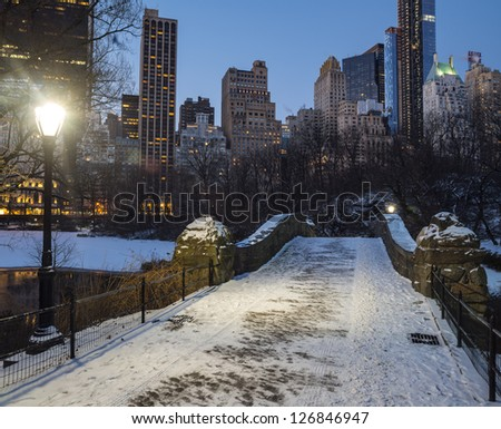 Central Park, New York City Gapstow in winter after snow storm