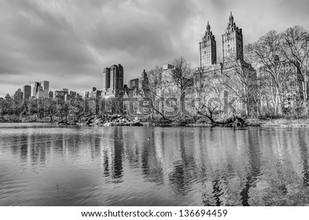 Central Park, New York City in winter at lake
