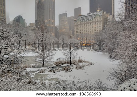 Central Park, New York City Plazza hotel during snow storm